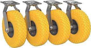 4 x Stuurbare zwenkwiel met polyurethaan wiel Ø 260 mm 3.00-4, PUNCTURE PROOF