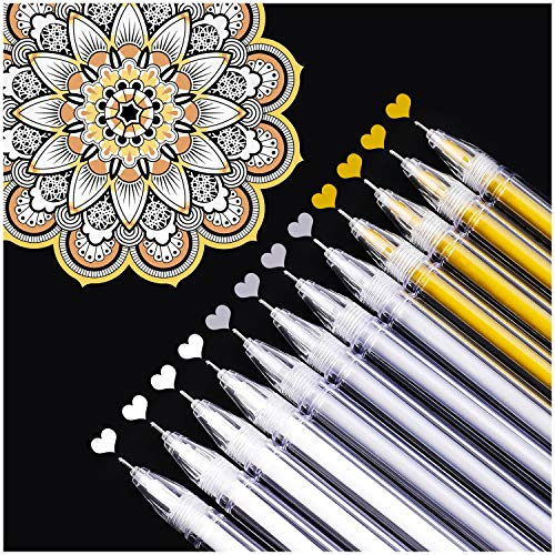 Dyvicl White Gold Silver Gel Pens, 0.5 mm Extra Fine Point Pens Gel Ink Pens for Black Paper Drawing, Sketching, Illustration, Adult Coloring, Bullet Journaling, Set of 12