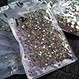2880pcs SS12 3mm Nail Crystals AB Nail Art Rhinestones Round Flatback Glass Gems Stones Beads for Nails Decoration Crafts Eye Makeup Clothes Shoes Vases (2880pcs SS12)