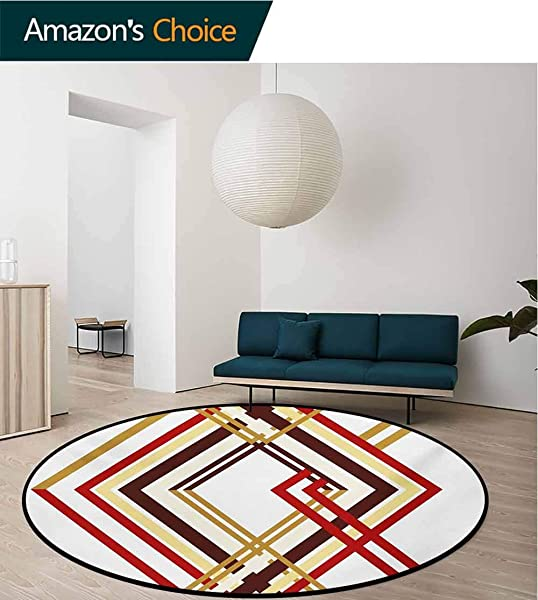 RUGSMAT Modern Small Round Rug Carpet Retro Style Diamond Like Border Line Geometrical Artwork Design Door Mat Indoors Bathroom Mats Non Slip Diameter 47 Inch Ruby Caramel Brown And Tan