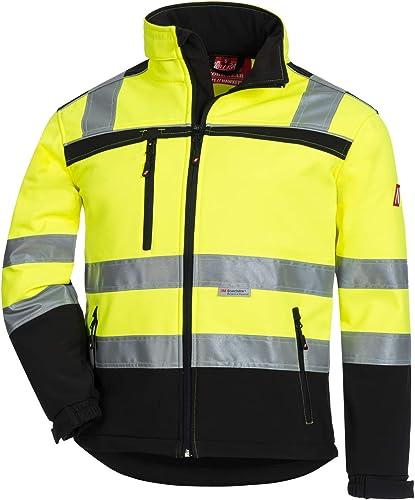 NITRAS Motion TEX VIZ Veste Softshell Haute visibilité | Veste de Travail avec Bordure réfléchissante 3M | Coupe-Vent