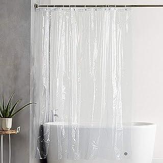 KaiYiシャワーカーテン 透明90x180cm バスカーテン 防カビ防水 間仕切り ユニットバスカーテン リング付属