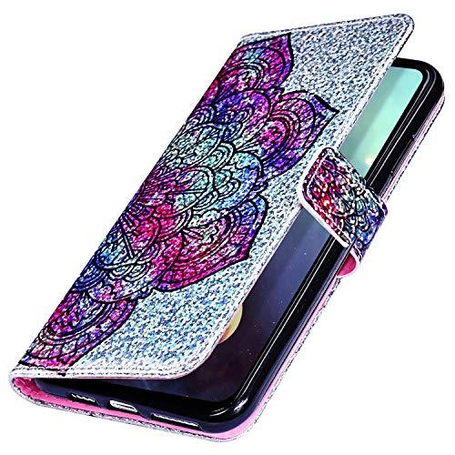 MoreChioce kompatibel mit Huawei Y7 2019 Hülle,Huawei Y7 2019 Ledertasche Glitzer,Vintage Mandala Paillette Sparkle Handyhülle Klapphülle Flip Case Brieftasche Magnetische mit Kartenfach