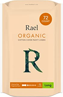 (4 Pack) - Rael 100% Organic Cotton Long Panty Liners - Unscented PantIliners - Natural Daily Pantyliners (4 Pack of 18 Li...