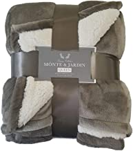 Monte & Jardin Luxury Linens Velvet Sherpa Reversible Blanket Super Sized (Queen 98 x 92, Golden Brown)