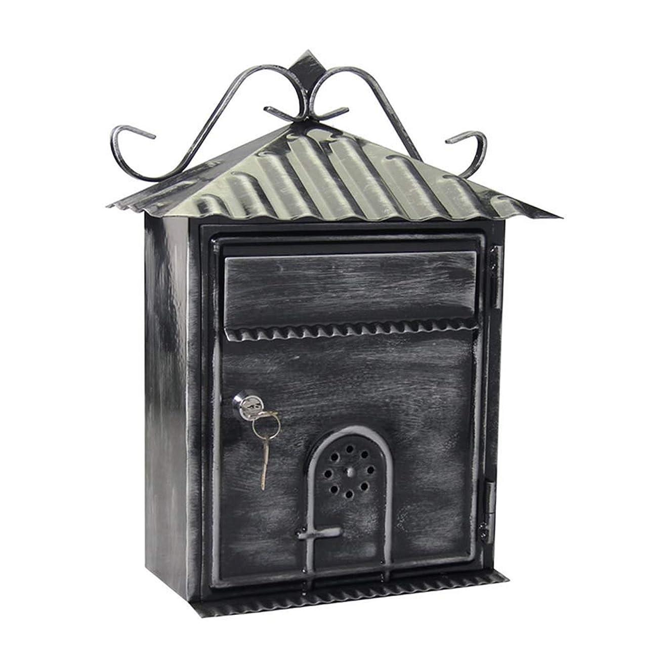 私の背骨ヒューズTINGTING 郵便受けア メールボックス ロック付き ロックが付いている金属のレターボックス2つのキーねじ付属品が付いている防水バッフルの壁の台紙 (色 : ブロンズ, サイズ さいず : 23*12*33cm)
