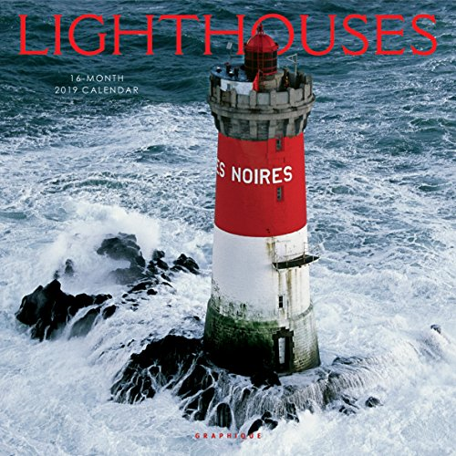 Graphique Lighthouses Wall Calendar - 16-Month 2019 Calendar, 12'x12' w/ 3 Languages, 4-Month Preview, & Marked Holidays