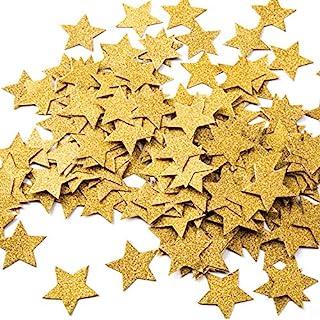 (Gold Glitter) - MOWO Glitter Five Stars Paper Confetti, Wedding Party Decor and Table Decor, 1.2'' in Diameter (glitter g...