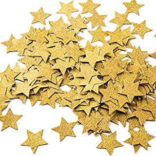MOWO Glitter Five Stars Paper Confetti, Wedding Party Decor and Table Decor, 1.2'' in Diameter (glitter gold,200pc)