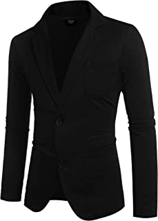 COOFANDY Mens Cotton Casual Two Button Lapel Blazer Jacket Lightweight Sport Coat
