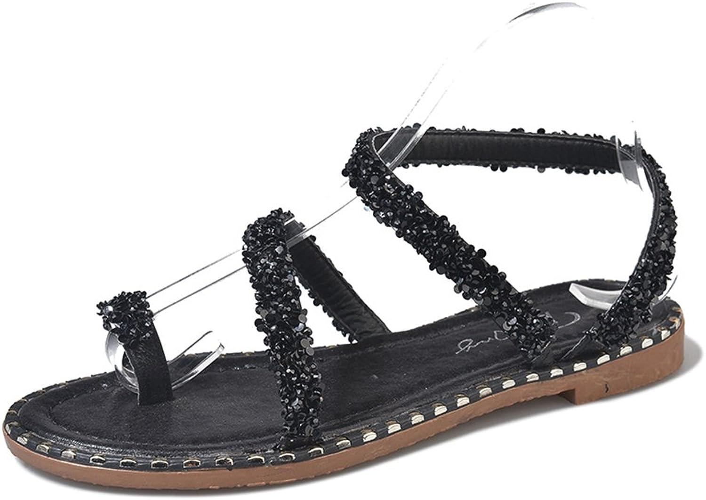 Zarbrina Ladies Elegant Bohemia Sweet Rhinestone Beaded Sandals Ring Toe Summer Beach Roman shoes