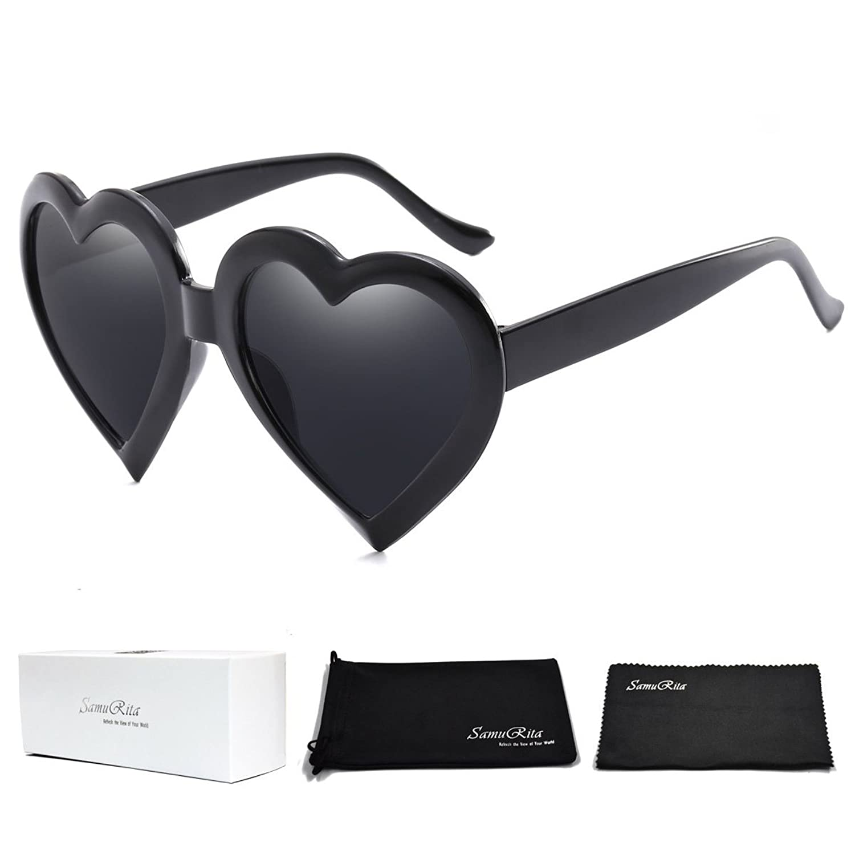 SamuRita 可愛いハートデザインサングラス男女兼用新しい厚いフレーム太陽眼鏡女の子のパーティーの喝采チアーリーダーのサングラス
