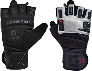 skott 2019 Evo 2 Weightlifting Gloves with Integrated Wrist Wrap Support - Double Stitching for Extra Durability - Get Rip...