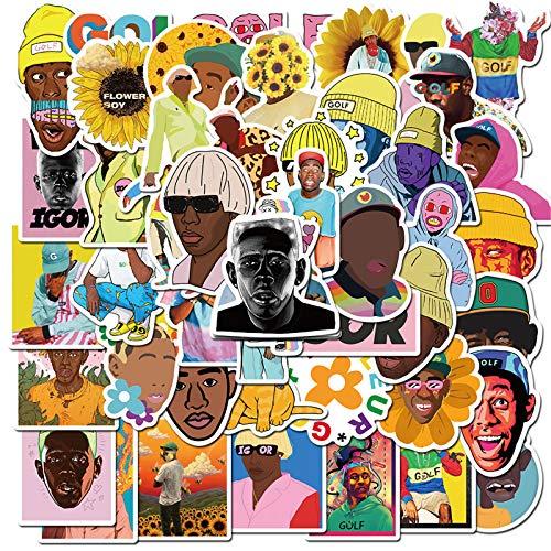 Black Rapper Tyler The Creator Stickers for Water Bottles 50 Pack Cute,Waterproof,Aesthetic,Trendy Stickers for Teens,Girls Perfect for Waterbottle,Laptop,Phone,Travel Extra Durable Vinyl (Tyler The Creator)