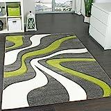 Paco Home Designer Teppich mit Konturen-Schnitt Modernes Wellen Muster in Grau Grün Creme, Grösse:120x170 cm