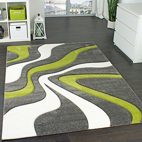 Paco Home Alfombra De Diseño Perfilado - Estampado De Ondas - Gris Verde Crema, tamaño:160x230 cm