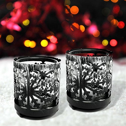 Snowflake Candle Holders - Set of 2 Rustic Metal Snow Flake Holders with Glass Votive Candle Inserts - Christmas Candle Centerpieces- Winter Decorating