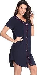 Nightgown Women's Long Sleeve Nightshirt Boyfriend Sleep Shirt Button-up Lapel Collar Sleepwear