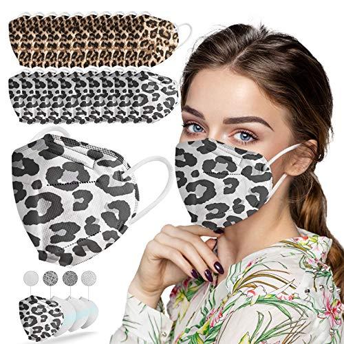 NGcat 10/50/100 Stück Erwachsene Mundschutz,5 Lagige Schutz_Maske Mund und Nasenschutz,Leopard Druck Staubdicht Mund-Nasen Bedeckung Atmungsaktiv Wiederverwendbar Bandana für Damen Herren