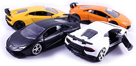 HCK Set of 4 2017 Lambo Huracan Performante - Pull Back Toy Cars 1:32 Scale (Black, White, Yellow, Orange)