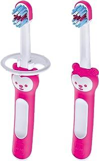 MAM Baby Toothbrush, Baby's Brush, Girl, 6+ Months, 2-Count, Pink