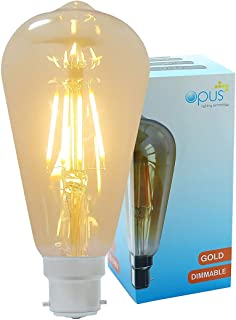 Vintage Filament Pear Opus Classic 5W LED Dimmable Gold Coated ST64 Light Bulb BC B22 Bayonet Cap