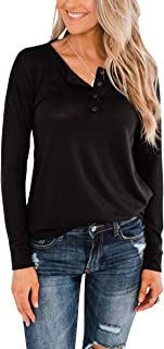 Womens Henley Tops Button Up T-Shirts Pure Color Blouses