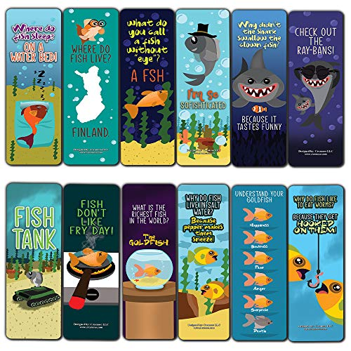 Funny Fish Puns Laughter Bookmarks (12-Pack) - Classroom Reward Incentives for Students and Children - Stocking Stuffers Party Favors & Giveaways for Teens & Adults