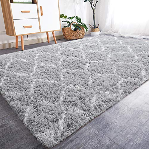 Rostyle Luxury Fluffy Nursery Rug Indoor Shaggy Rugs for Boys Girls Fuzzy Kids Bedroom Carpets Plush Living Room Home Decorate Area Rugs, 4 ft x 6 ft, Grey