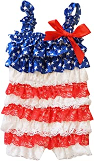 Swyss 4th of July Toddler Baby Girls American Flag Rompers Baby Girls Bowknot Lace Folds Jumpsuit Outfit for Independence Day