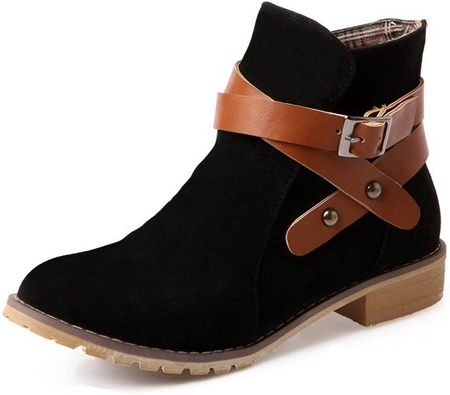 AllhqFashion Women's Low-Heels Solid Round Closed Toe Frosted Buckle Boots