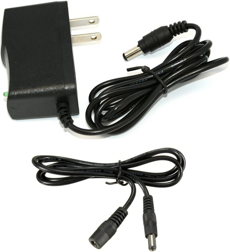 DC 12V 1A (12W) Power Supply with 5.5MM x 2.1MM Plug, Includes 3 Foot Extension Cable