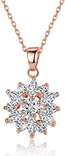 18K Rose Gold Plated Cubic Zirconia Snowflake Pendant Necklace for Women Girls CZ Jewelry Fashion Necklaces 3 Style