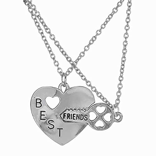 Elegant Rose Two Piece Best Friends Forever BFF Silver Heart Key Pendant Necklace Set Friendship Accessories