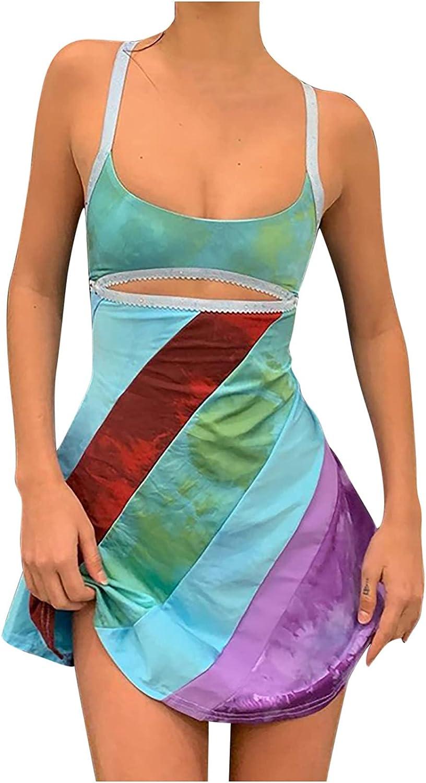 Womens Summer Sexy Spaghetti Strap Mini Dress Trendy Sleeveless Off The Shoulder Hollow Colorful Stripe Clubwear