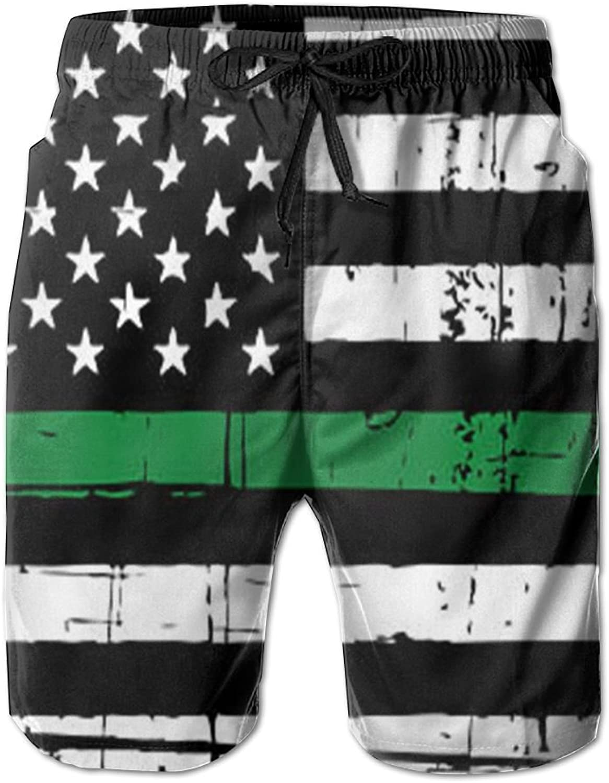 CUTEDWARF Men's 3D Printing Green Line American Flag Beach Shorts Casual Shorts