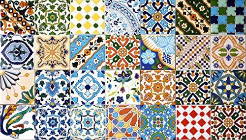30 Mattonelle MISTE in ceramica smaltata. Pacco contenente 30 mattonelle decorate 15 X 15 cm spessore 0,6 cm - Mattonelle Tunisine realizzate con Serigrafia Artigianale