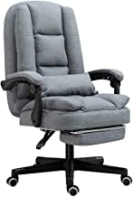 Executive Linen-Feel Fabric Home Office Chair with Footrest|Ergonomic Reclining Computer Swivel Seat,Height Adjustable|for...