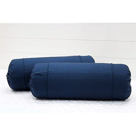 "AURAVE Cotton 220 TC Bolster Cover (16""x32""_Navy Blue)"