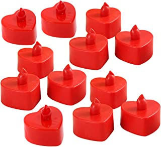 Mobestech 24pcs Flameless Candles Heart Shape Tealight LED Electronic Candle Lamp Battery Operated Candles Home Rooom Deco...
