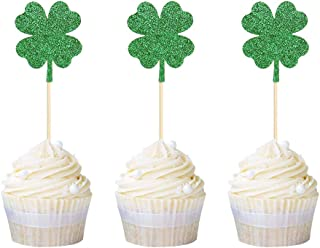 Newqueen 24 Four leaf Clover Cupcake Toppers Green Glitter Lucky Cupcake Picks for St Patrick's Day Party Decoration