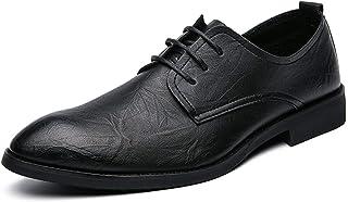 Zapatos casuales Zapatos de Oxford de los hombres, zapatos de vestir de punta de cordones de cuero de la PU, color sólido ...