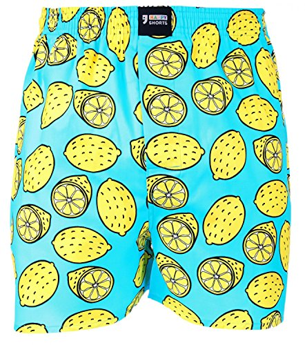 Happy Shorts Webboxer Herren Boxer Motiv Boxershorts Farbwahl, Grösse:XL - 7-54, Präzise Farbe:Zitrone - Lemon