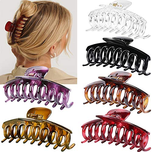 Big Claw Hair Clips for Women Thick Hair, 4.3″ Jumbo Hair Clips Strong Hold Jaw Hair Clips Hair Catch Barrette Large Banana Clips Hair Styling Accessories(6 Packs)