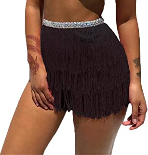 Victray Tassel Belly Dance Hip Skirts Performance Scarf Summer Beach Wraps Fashion Party Belts Body Accessories for Women and Girls (Black)