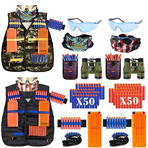 AILUKI 2 Pack Kids Tactical Vest Kit for Nerf Guns Game N-Strike Elite Series Wars with Refill Darts, Reload Clips, Dart Pouch, Tactical Mask, Wrist Band and Protective Glasses for Boys ,Girls