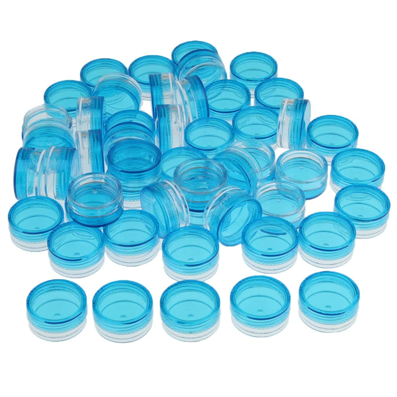 Baoblaze 50個入り 化粧品ボトル ジャー クリーム容器 プラスチック 小分け 詰替え コスメ用 3g 全6色 - 青