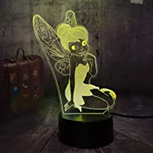 Novelty Cartoon Peter Pan and Wendy Tinker Bell Action Figure 3D LED Night Light 7 Color Change RGB Romantic Gifts Desk Table Lamp Home Decoration Child Birthday Gift Kids Toys(Miss Tinker Bell)