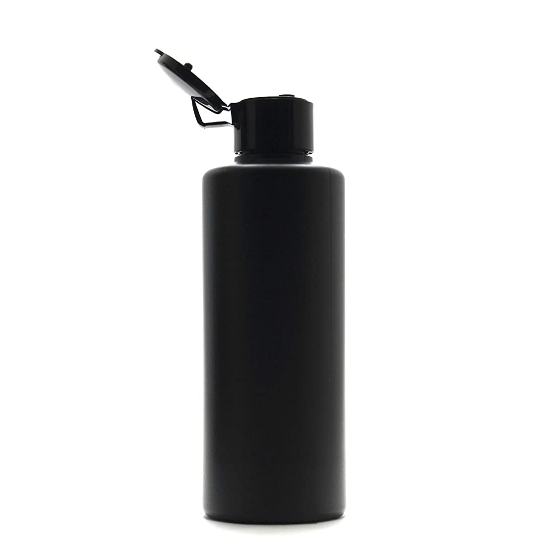 不明瞭承知しました乗ってプラスチック容器 200mL PE ストレートボトル 遮光黒 [ ヒンジキャップ:ブラック ※パッキン付き ]