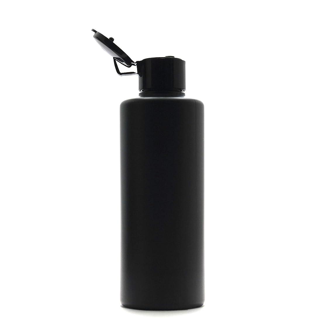 ハウジング聴くフリースプラスチック容器 200mL PE ストレートボトル 遮光黒 [ ヒンジキャップ:ブラック ※パッキン付き ]